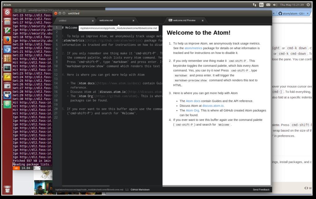Tampilan Atom di Ubuntu