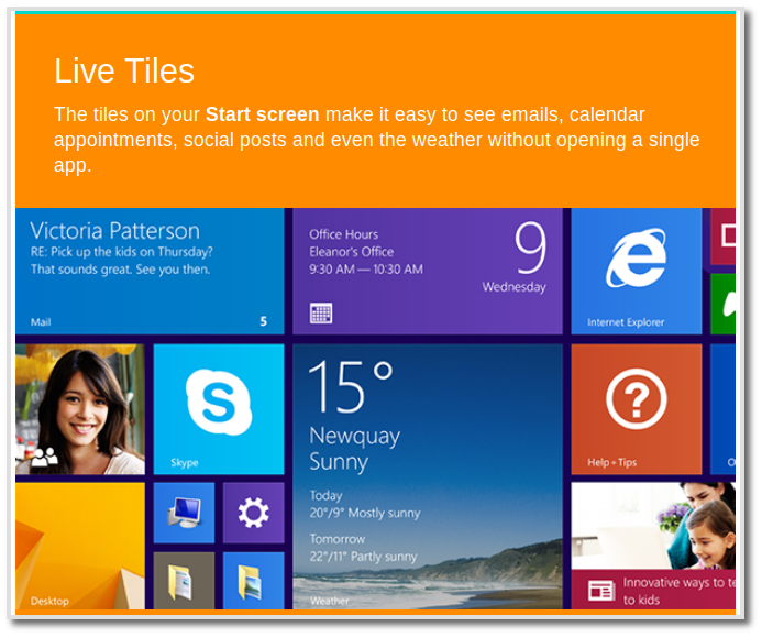 Windows 8.1 Live Tiles dari selebaran digital Microsoft